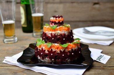Рецепт Салат-торт Селедка под шубой