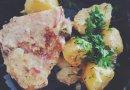 Курица с молодым картофелем тушеная в сметане