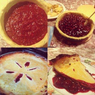 Рецепт Пирог с вишней и малиной