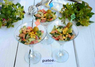 Рецепт Салат с белой фасолью кукурузой и овощами