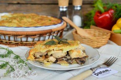 Рецепт Запеканка с курицей и грибами под сырной корочкой