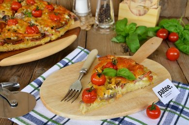 Рецепт Кабачковая пицца с грибами и колбасой