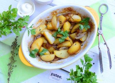 Рецепт Картофель запеченный с красным луком