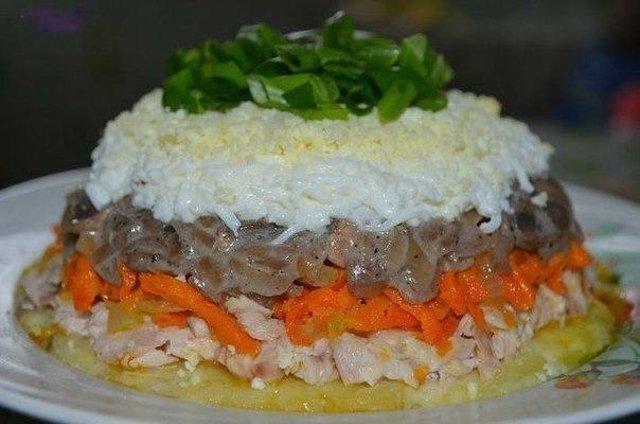 Салат с картошкой курицей и грибами слоями рецепт с
