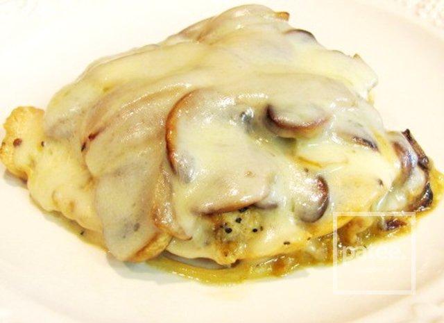 23Куриные отбивные с сыром и шампиньонами в духовке рецепт