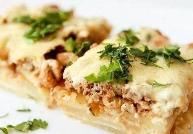 Картофельная запеканка с мясом в духовке рецепт с фото классический