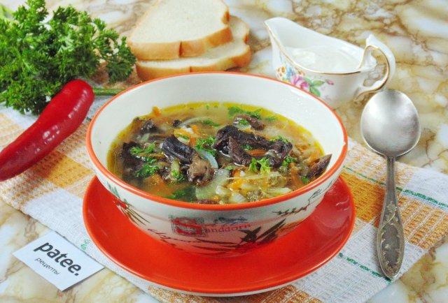 Суп с сушеными грибами и курицей с фото