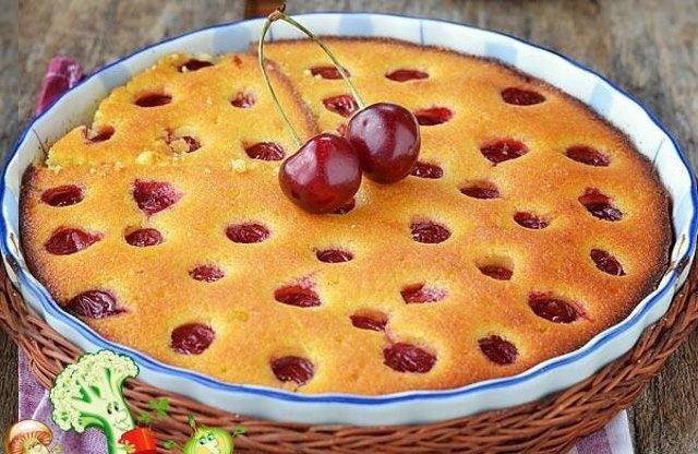 Открытый пирог с вишнями с фото пошагово