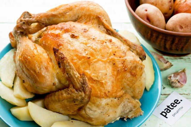 Курица в духовке с чесноком корочкой рецепт