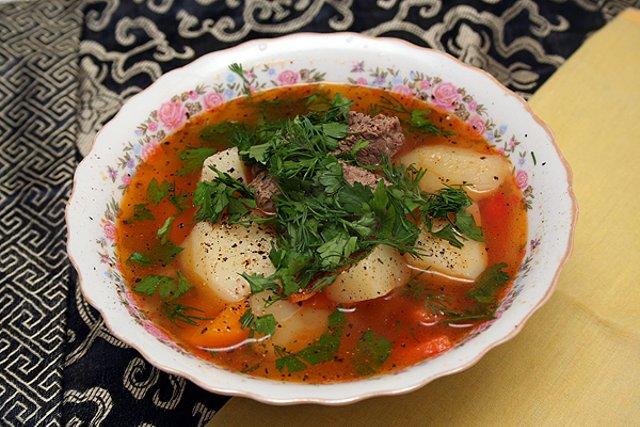 шурпа рецепт с томатной пастой и клёцками
