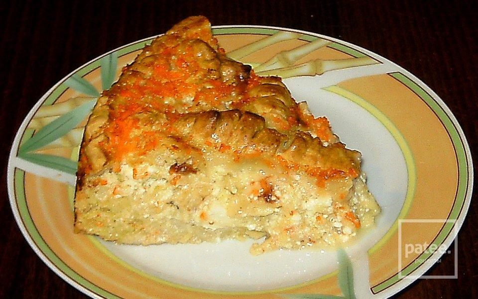 Быстрый пирог с яблоками и творогом