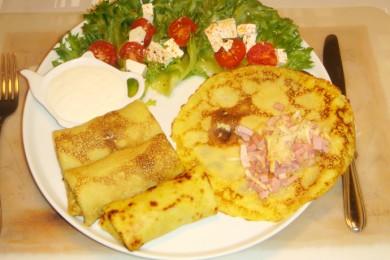 Рецепт Блинчики с ветчиной и сыром