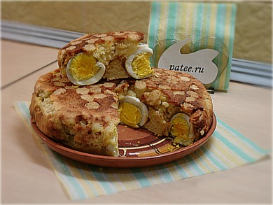 Рецепт Пирог из манки с начинкой из яиц