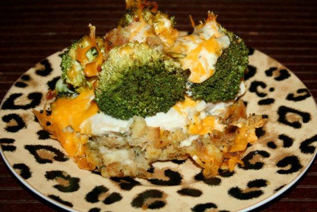 Открытый пирог с брокколи и курицей - Домашняя еда