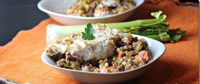 Запеканка из мяса с овощами и картофельного пюре