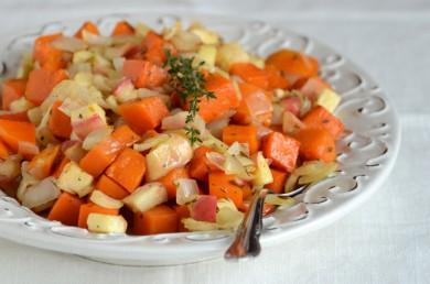 Рецепт Гарнир из запеченной тыквы и овощей