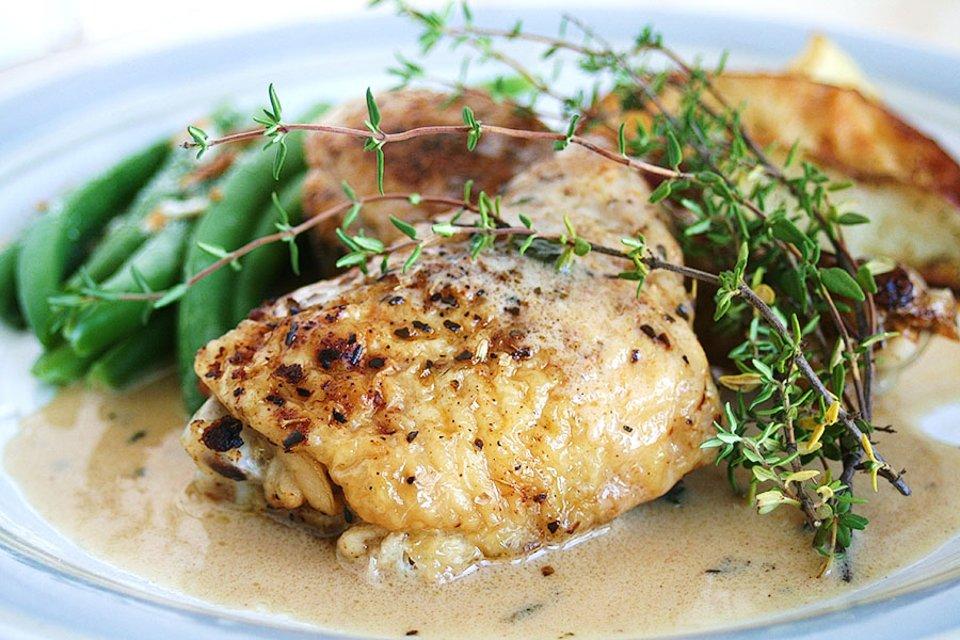 Жаренный цыпленок в горчичном соусе с маскарпоне