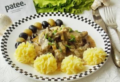 Рецепт Бефстроганов из печени с грибами