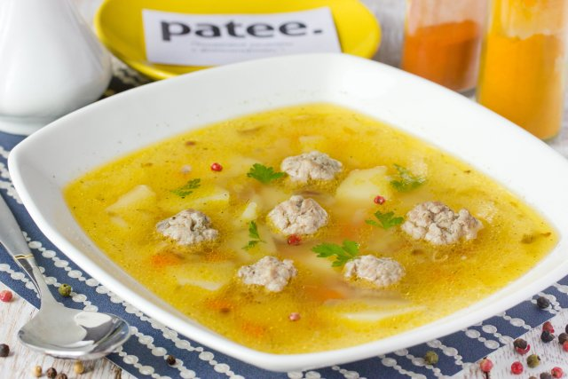 Суп фрикадельки из фарша рецепт пошагово