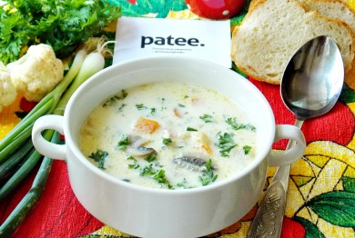 Рецепт Суп с цветной капустой, ветчиной и сливками