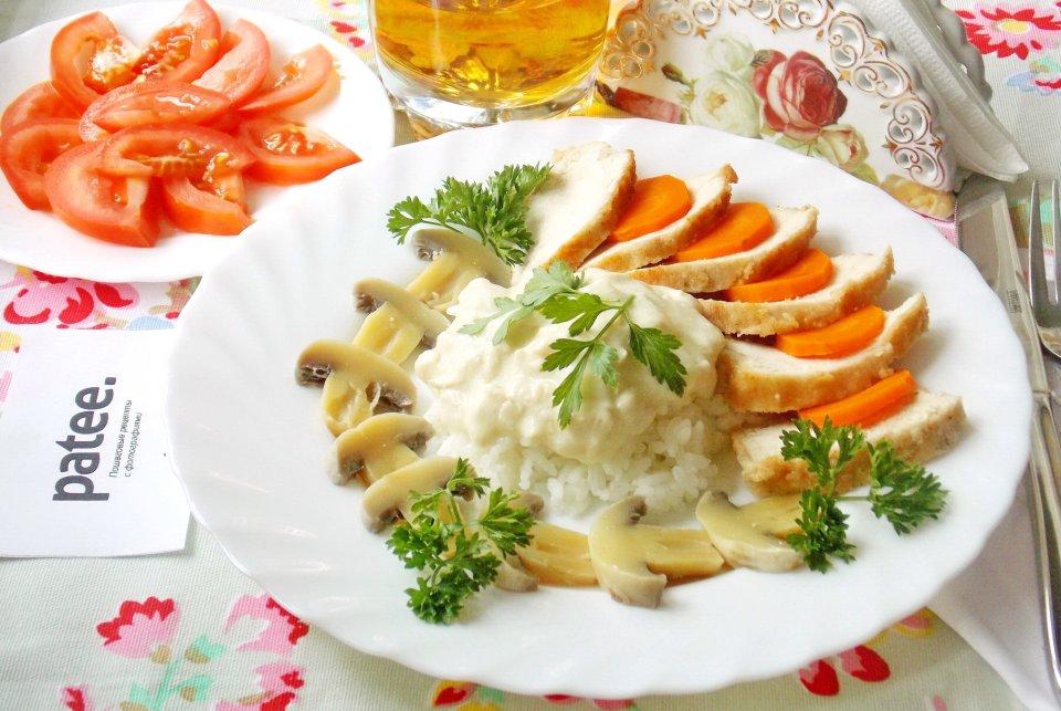 Куриная грудка с рисом и грибами