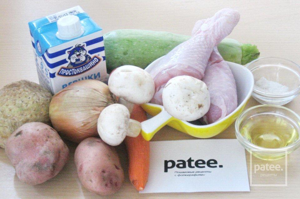 Суп  с курицей, сливками и грибами