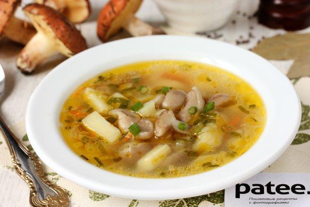 Суп из свежих грибов маслят 10