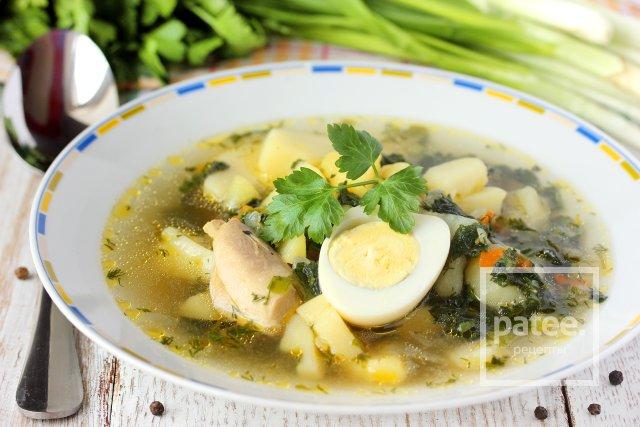 Куриный суп с молодой крапивой