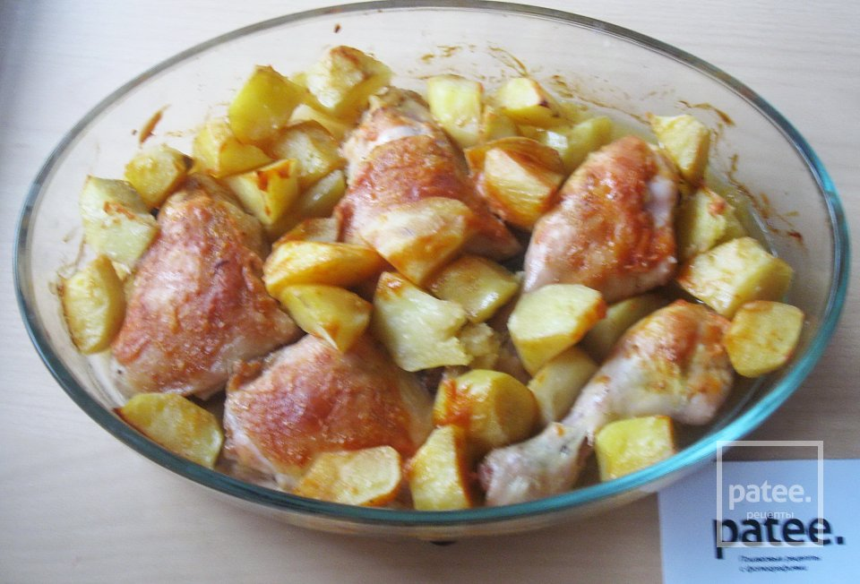 Курица в пивном маринаде с картофелем