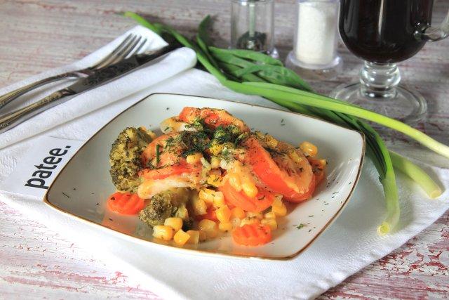 Филе пангасиуса с овощами в мультиварке