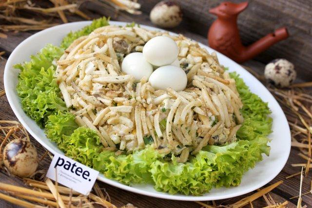 салат гнездо перепелки рецепт