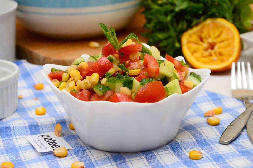 Овощной салат с мятной заправкой