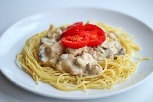Паста с грибами и ветчиной в сливочном соусе пошаговый рецепт