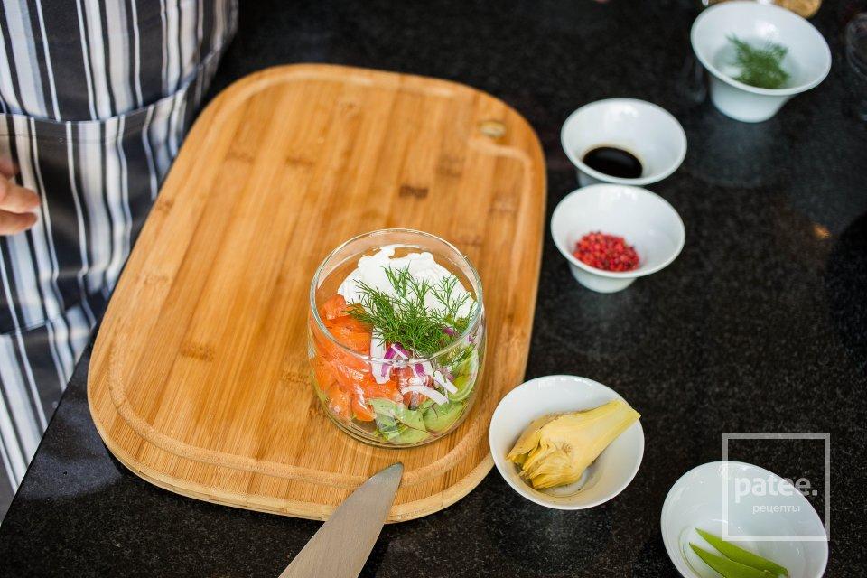 Салат из форели с дымком