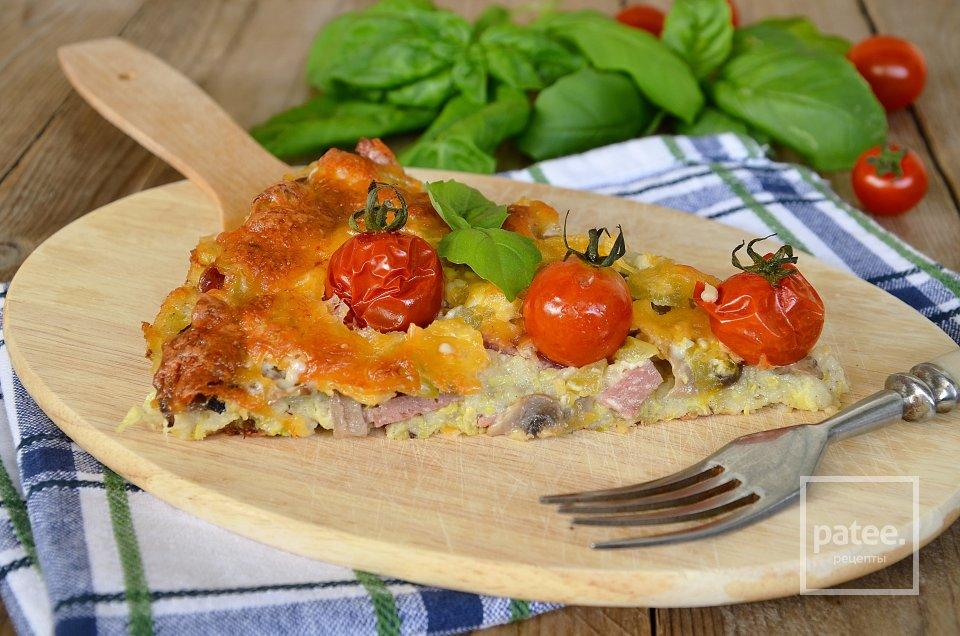 Кабачковая пицца с грибами и колбасой