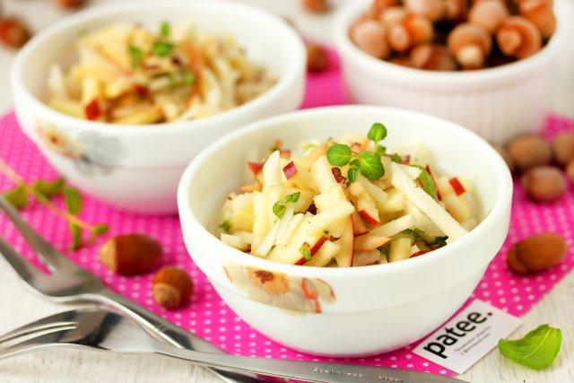 Салат из топинамбура с яблоками и фундуком