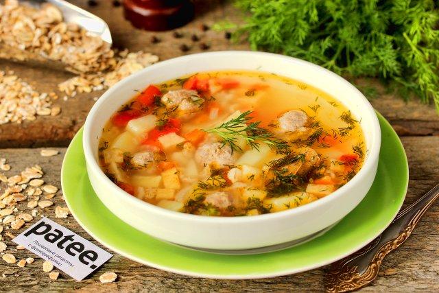 Овощной суп с фрикадельками и овсянкой