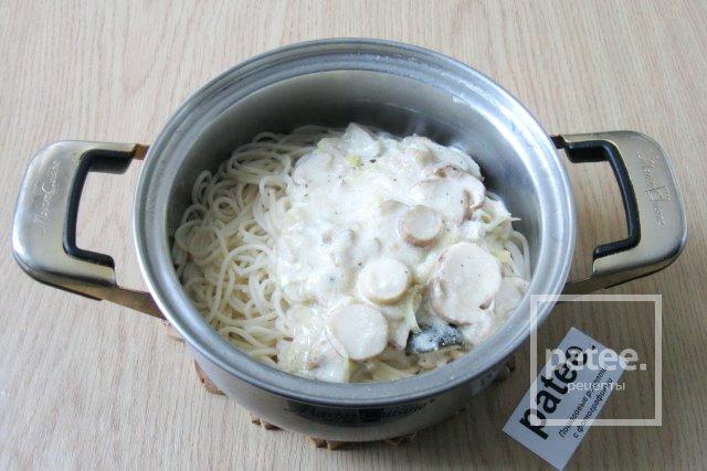 рецепты паста с ветчиной и грибами в сливочном соусе