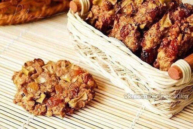 Овсяное печенье с сухофруктами рецепт