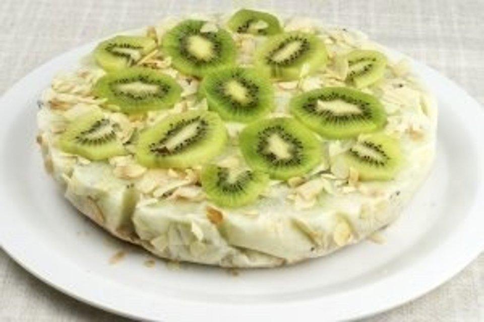 Йогуртовый низкокалорийный торт с киви и бананом😍