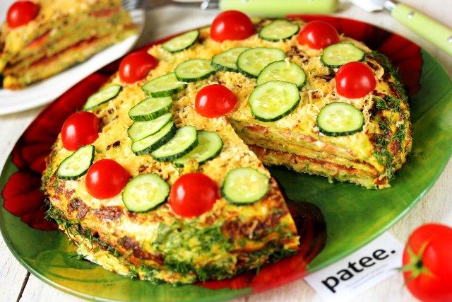 рецепт кабачкового торта с помидорами с фото