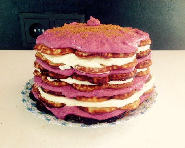 Торт из вафельницы с творожным кремом