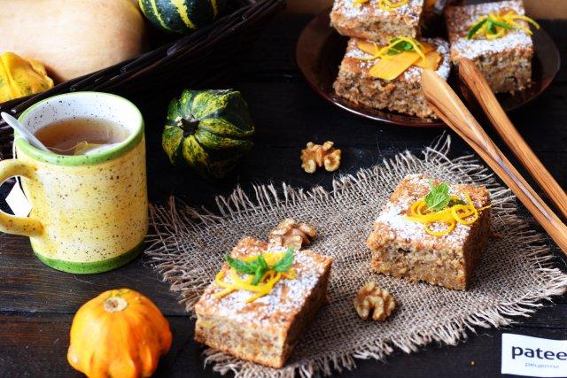 Пирог с тыквой и грецкими орехами
