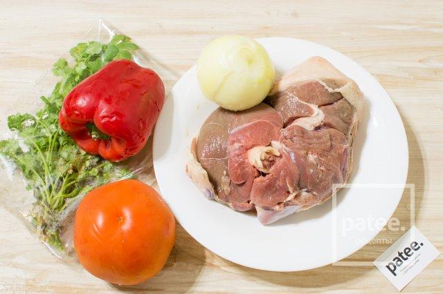 Баранина с перцем и помидорами