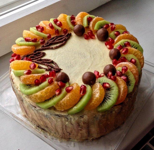 Бисквитный торт с фруктами рецепт