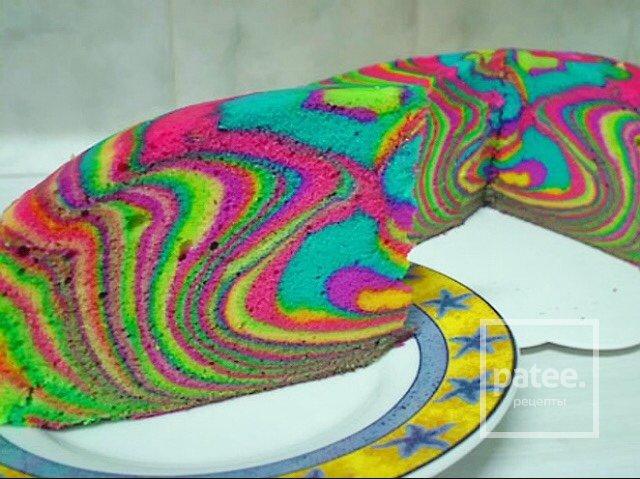 Цветной бисквит рецепт с фото