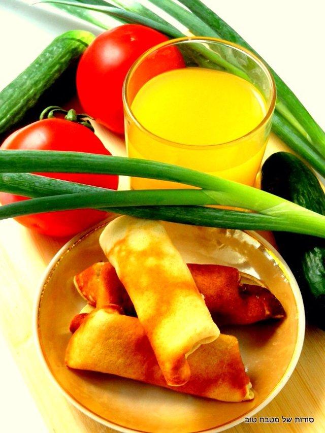 Блинчики с тертым сыром и чесноком