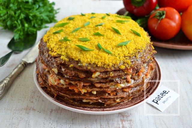 Закусочный печеночный торт