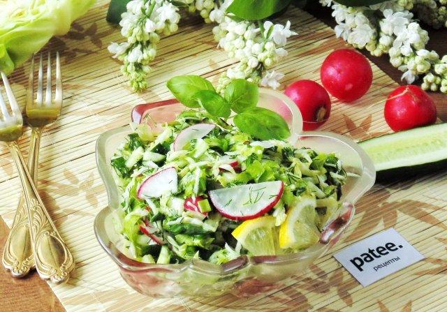 Салат из молодой  капусты с редисом