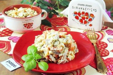 салат янтарный рецепт салат с крабами и рисом